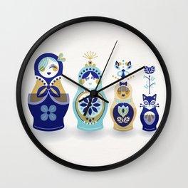 Russian Nesting Dolls – Blue & Gold Wall Clock