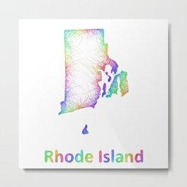 Rainbow Rhode Island map Metal Print