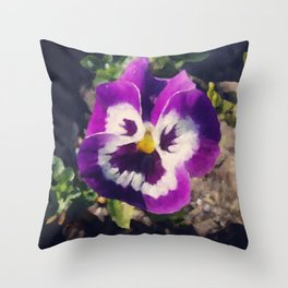 A Pansy At The End Of The Road Throw Pillow