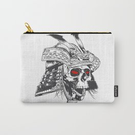 black and white samurai helmet with skull Carry-All Pouch