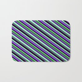 Powder Blue, Forest Green, Purple & Black Colored Stripes/Lines Pattern Bath Mat