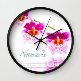 Namasta White And Pink Orchids Wall Clock