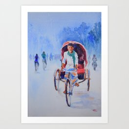 Rickshaw puller Art Print
