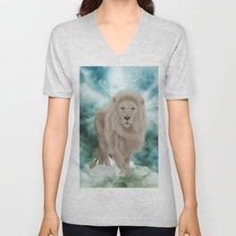 Awesome white lion in the sky Unisex V-Neck