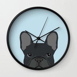 Frenchie art - french bulldog dog art dog portrait cute black french bulldog Wall Clock