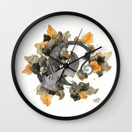 Dragon in Leaves Wall Clock