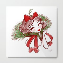 Kiss Me Mistletoe Metal Print