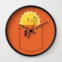 cartoon Wall Clocks featuring Pocketful of sunshine by Picomodi