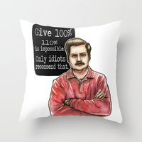 swanson Throw Pillows featuring Ron Swanson by Tiffany Willis