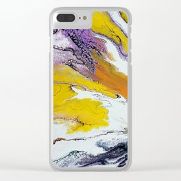 Jupiter, acrylic on canvas, dirty pouring medium Clear iPhone Case