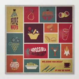Vintage Food Collage Old Style Canvas Print