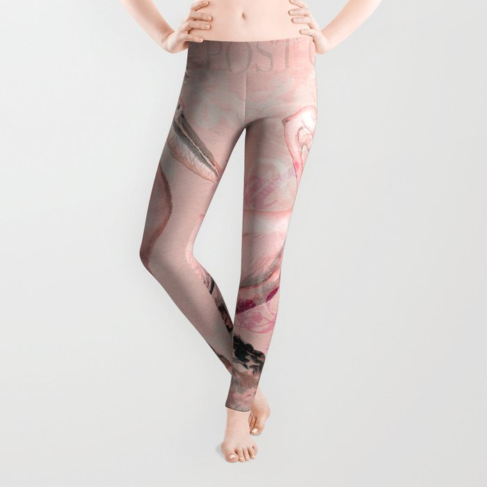 Retro Pelican Vintage Style Illustration Leggings