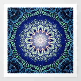 blue flowers mandala Art Print