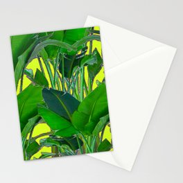DECORATIVE TROPICAL GREEN FOLIAGE & CHARTREUSE ART Stationery Cards