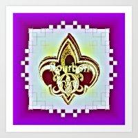 fleur de lis Art Prints featuring Fleur De Lis Purple  by Tina Vaughn