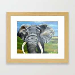 Elephant, Male Elephant Painting Framed Art Print