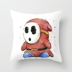Shy Guy Watercolor Mario Art Throw Pillow