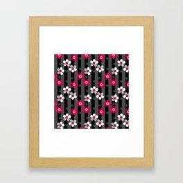 Crimson and white flowers on a black striped background Framed Art Print