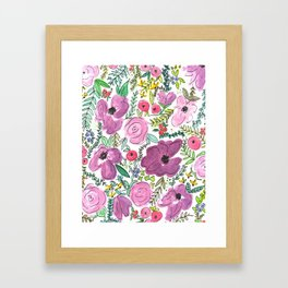 Purple Floral Design - Watercolor Painting  Framed Art Print