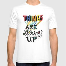 Things are Looking Up White MEDIUM Mens Fitted Tee