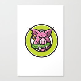 Wild Pig Biting Pickle Circle Mascot Canvas Print