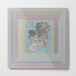 Ireland antique vintage map with graphic design Metal Print