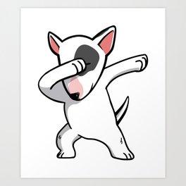 Funny Dabbing English Bull Terrier Dog Dab Dance Art Print