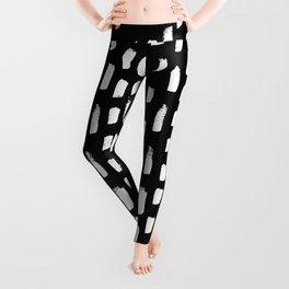 Artistic modern black white paint brushstrokes Leggings