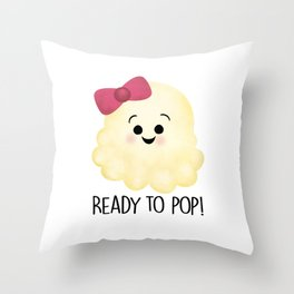 Ready To Pop - Popcorn Pink Bow Throw Pillow