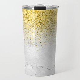 Gold Glitter and Grey Marble texture Travel Mug