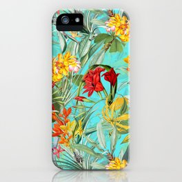Vintage & Shabby Chic - Colorful Tropical Blue Garden iPhone Case