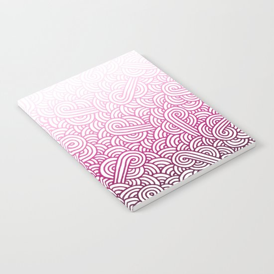 Gradient pink and white swirls doodles Notebook