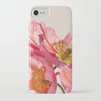 jazzberry iPhone & iPod Cases featuring Like Light through Silk - peach / pink translucent poppy floral by micklyn