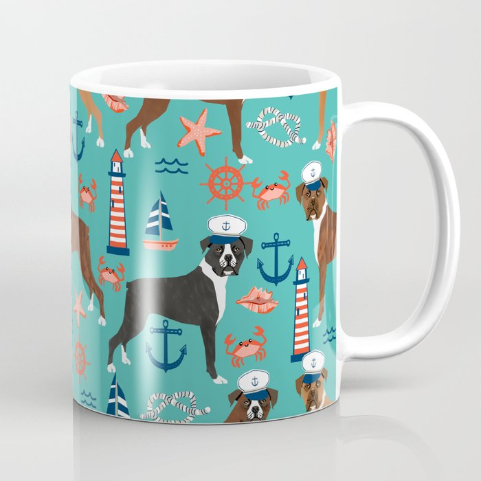 Boxer Nautical Sailor Costume Custom Pet Portrait Dog Breeds By Friendly Boxers Dogs Coffee Mug