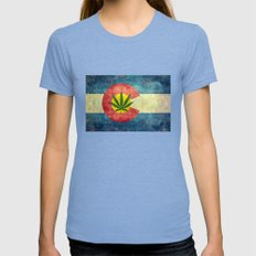 Retro Colorado State flag with the leaf - Marijuana leaf that is! Tri-Blue MEDIUM Womens Fitted Tee