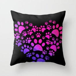 Animal Paws Heart print For Dog Lovers Throw Pillow