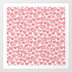 MESSY HEARTS: PEACHY Art Print