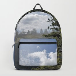 Gnarled Tree Against Blue Sky and Clouds, Beautiful Landscape of Old Tree Backpack