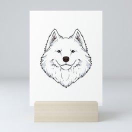 Funny Samoyed Dog head Dog gift Mini Art Print