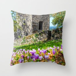 Square stone tower along medieval rampart in flowered meadow Throw Pillow