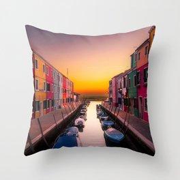 Burano Island, Venice, Italy at sunrise Throw Pillow
