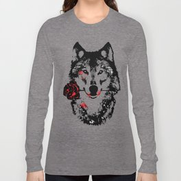 Wolf blood stained, holding a red rose. Long Sleeve T-shirt