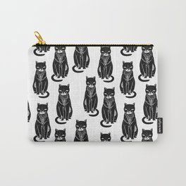 Linocut cat black and white cute pet pattern cats kittens Carry-All Pouch