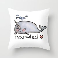 narwhal Throw Pillows featuring narwhal  by geeboo