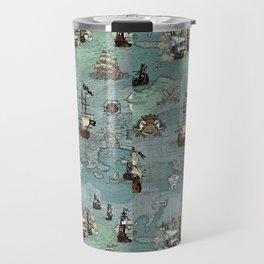 Pirate Ships Nautical Map Travel Mug