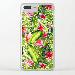 Aloha- Tropical Flamingo Bird and Hibiscus Palm Leaves Garden Clear iPhone Case