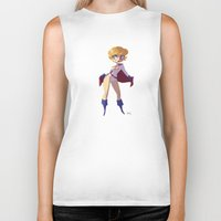 girl power Biker Tanks featuring Power Girl by Luján Fernández