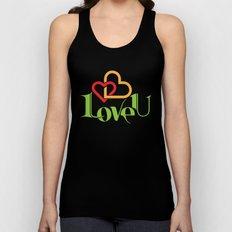 Love U Valentine Hearts Unisex Tank Top