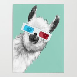 Sneaky Llama with 3D Glasses #01 Poster