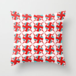 Red and Turquoise Pattern. Throw Pillow